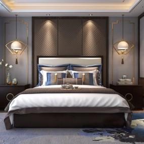 新中式卧室Q73D模型【ID:427991331】