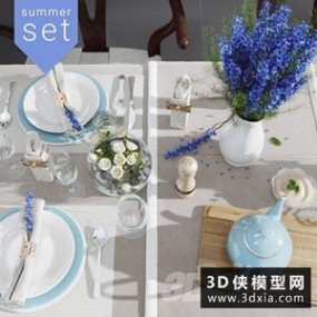 现代餐具模型组合3D模型【ID:929313992】