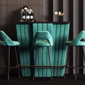 现代吧台吧台椅3D模型【ID:628458370】