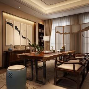 新中式茶室3D模型【ID:127845975】