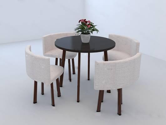 现代桌椅组合3D模型下载【ID:319453617】