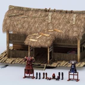 中式破旧茅草屋3D模型【ID:528453635】