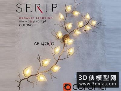 樹技壁燈國外3D模型【ID:829401826】