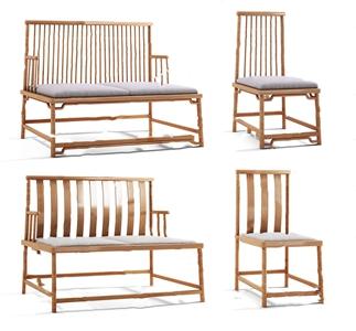 新中式沙发椅子组合3D模型【ID:920819739】