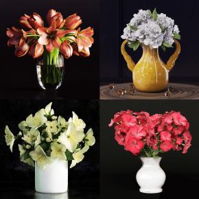 现代花瓶花卉组合3D模型【ID:327784853】