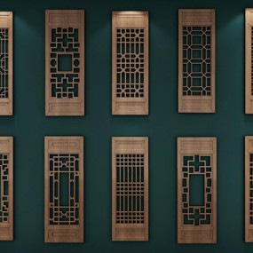 古典中式窗户3D模型【ID:528042092】