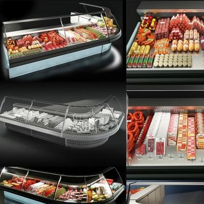 現代超市鮮肉冷柜3D模型【ID:128412275】