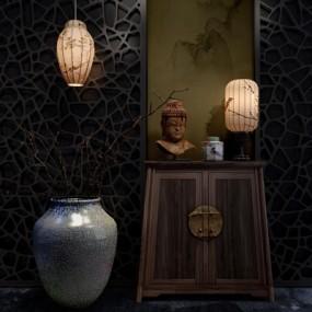 现代中式吊灯台灯柜子屏风组合3D模型【ID:327898710】