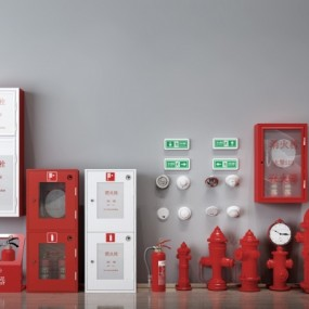 现代消防栓灭火器组合3D模型【ID:227782762】