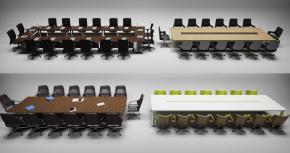 现代会议桌椅组合3D模型【ID:227780313】