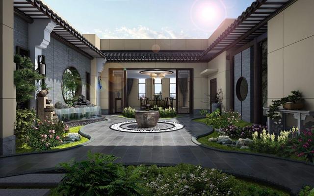 新中式屋顶花园3D模型【ID:828324426】
