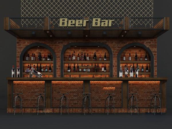 工业风酒吧吧台3d模型