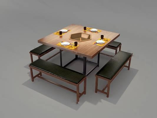 中式桌椅组合3D模型下载【ID:319453464】