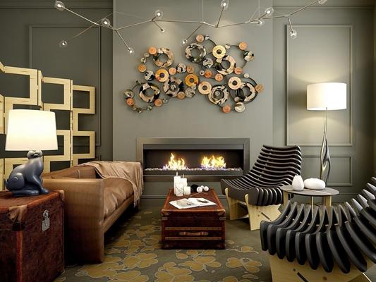 现代沙发壁炉壁饰屏风椅子组合3D模型【ID:728065794】