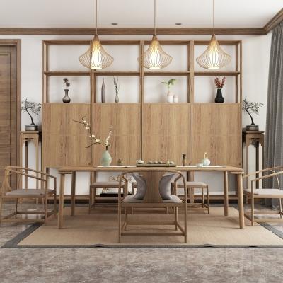 新中式茶桌椅茶具裝飾柜組合3D模型【ID:327792605】
