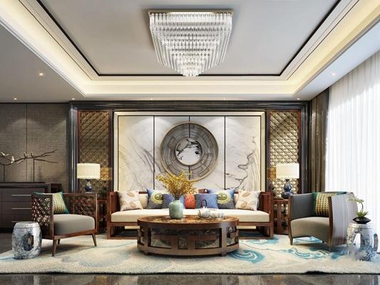 新中式客厅3D模型【ID:728100710】
