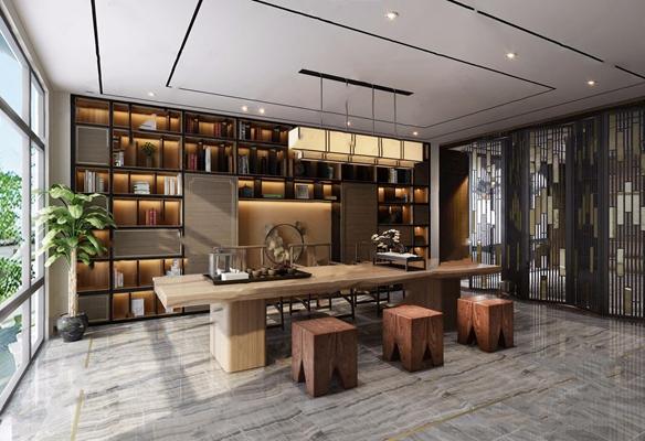 新中式书房空间3D模型【ID:528286658】