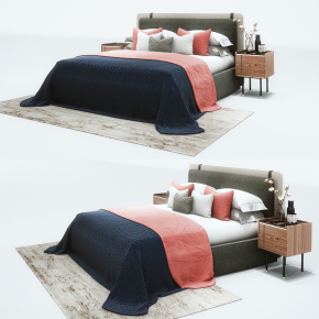 現代布藝雙人床床頭柜組合3D模型【ID:727809061】
