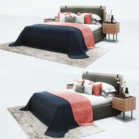 现代布艺双人床床头柜组合3D模型【ID:727809061】