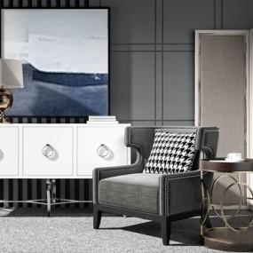 现代休闲沙发边柜组合3D模型【ID:928338631】