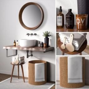 现代洗手台洗浴用品组合3D模型【ID:727810774】