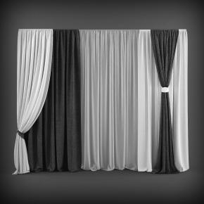 現代布藝窗簾3D模型【ID:327786801】
