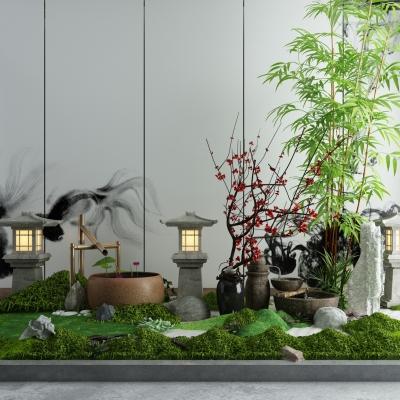 新中式绿植户外灯景观3D模型【ID:128409822】