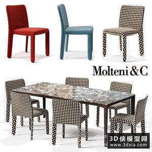 現代餐桌椅組合國外3D模型【ID:729310777】