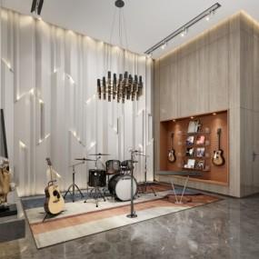 现代架子鼓吉它音乐器材3D模型【ID:928562042】