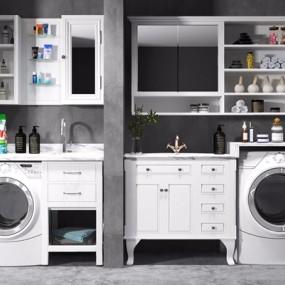 现代洗衣机浴室柜伴侣组合3D模型【ID:128219735】