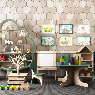 现代儿童桌椅积木玩具装饰架组合3D模型【ID:927837281】