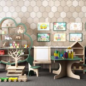 现代儿童桌椅积木玩具装饰架组合365彩票【ID:927837281】