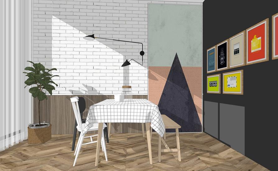北欧风格餐桌组合SU模型【ID:636706683】