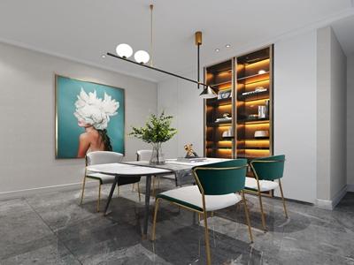 现代餐厅餐桌椅3D模型【ID:550469171】