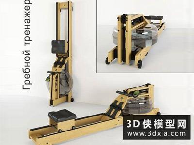 劃船機健身器材模型國外3D模型【ID:129348859】