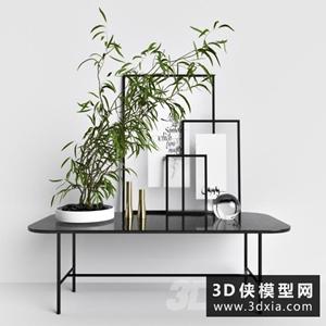 現代裝飾品組合國外3D模型【ID:929315874】