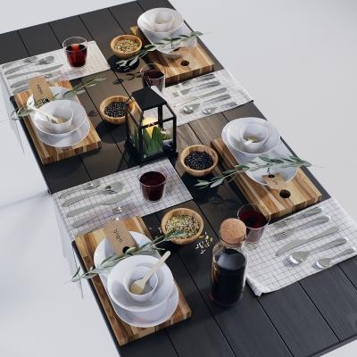 現代實木餐桌餐具擺件組合3D模型【ID:927838340】
