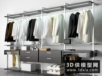 衣服衣柜組合國外3D模型【ID:929351605】