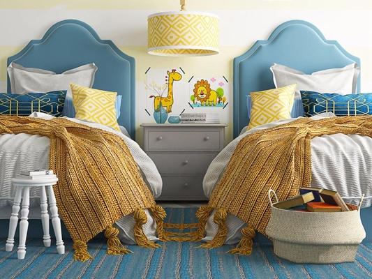 美式儿童床3D模型【ID:628052970】