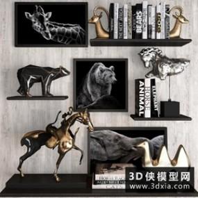 现代装饰品组合国外3D模型【ID:929327808】