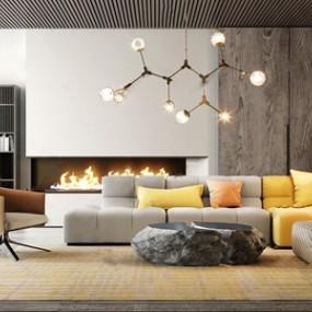 现代休闲沙发茶几组合 3D模型【ID:641632720】
