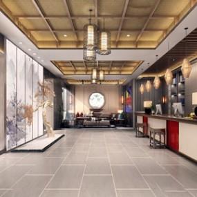 新中式酒店大堂3d模型【ID:431402228】