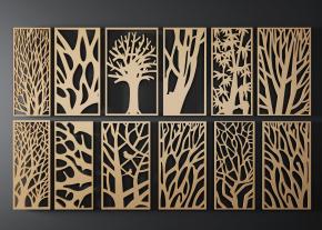 新中式樹形隔斷屏風花格組合3D模型【ID:827814425】