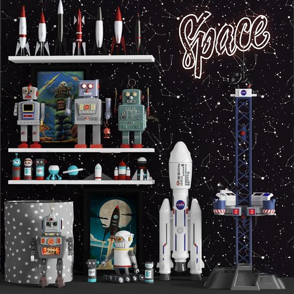 現代機器人火箭兒童玩具3D模型【ID:347087482】