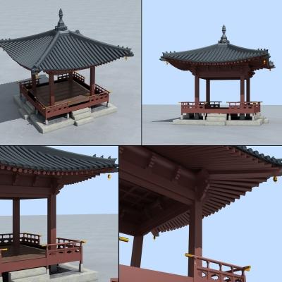 新中式凉亭3D模型【ID:127764885】