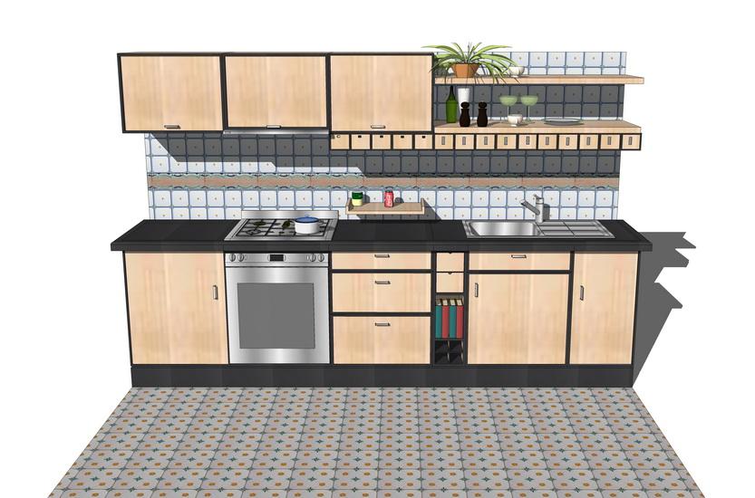 厨房橱柜组合SU模型【ID:736716122】