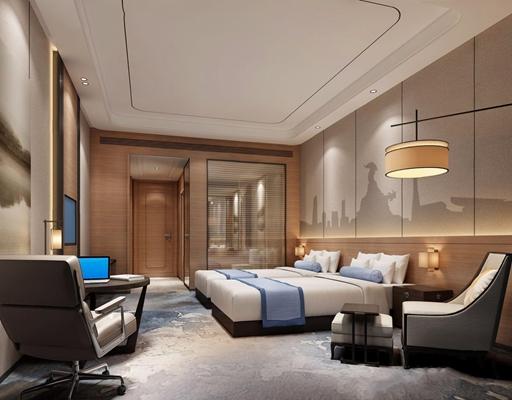 現代酒店客房3D模型【ID:428262622】