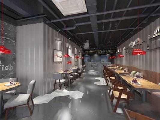 工业餐厅3D模型【ID:120618832】