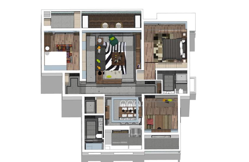 現代風格三房兩廳室內設計SU模型【ID:936717815】