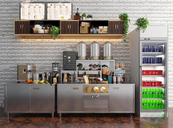 現代咖啡奶茶店奶茶桶工作臺3D模型【ID:646209418】